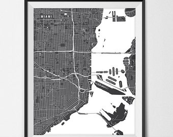Miami Florida State Map Art Print, Florida International University Map Art Dorm Decor Graduation Gift Miami City Map of Miami Art