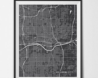 Oklahoma City Map Print, Oklahoma City Poster of Oklahoma Map of Oklahoma City Print Gift OKC Map Oklahoma City Oklahoma Art Poster Decor