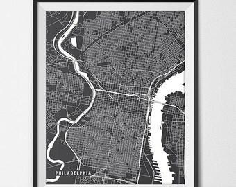 Philadelphia Pennsylvania State Map Art Print, Philly Art Philadelphia City Map of Philadelphia Art Pennsylvania Art Black and White Art