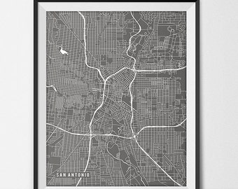 San Antonio Map Print, San Antonio Poster of Texas Map of San Antonio Print Gift San Antonio Texas Art UTSA University Art Poster Dorm Room