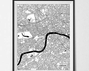 London Map Print, London Poster of England Map of London Print, London Gift, UK Map London England Art, Giclee Print Office Decor UK Gift