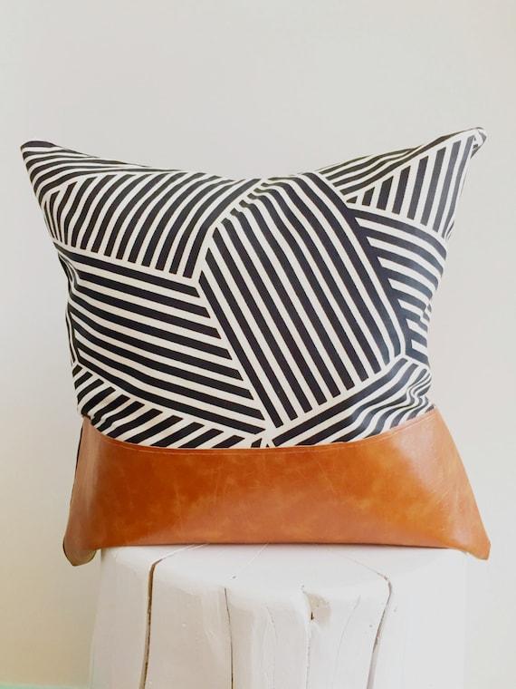 Black And White Decorative Throw Pillows : Black and White Pattern Decorative Throw Pillow by PosyandBelle