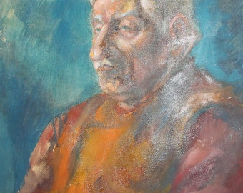 Vintage oil painting old man portrait