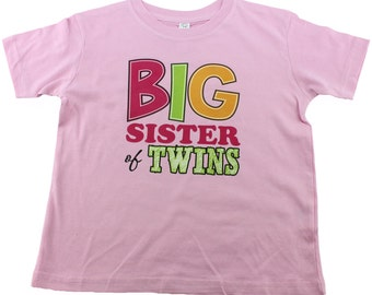 Big Sister of Twins Shirt, Big Sis of Twins T-Shirt, Twin Sibling Shirts, sizes from 1 to 4