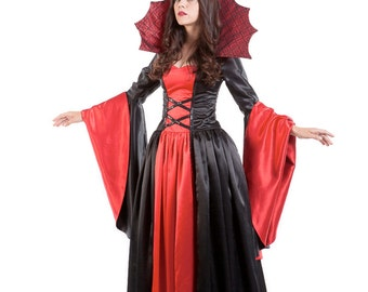 "Made to Order: Women's Costume - ""Vampiress"" - fatally charming red and black satin vampire dress for Halloween or a costume party"