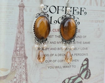 Tiger eye drop earrings with Swarovski