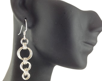 Earrings...Graduated rings weave earrings