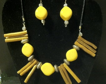 Mustard Color with Wood