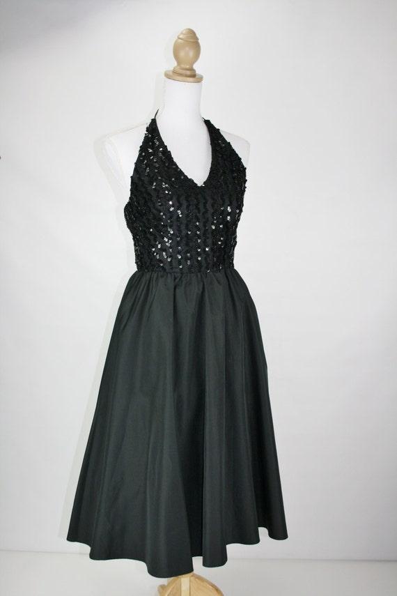 1970s does 50s INNER CIRCLE INC black taffeta dress
