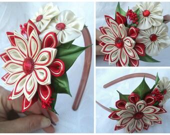 Tsumami kanzashi flower headband,Kanzashi Flower , Flower Headband