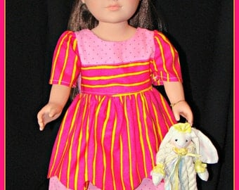 "Hot Pink Dress with Yellow Stripes, Summer Outfit made to fit American Girl Style 18"" Dolls! School or Dress Up Doll Clothes."