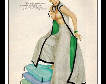 "Vargas Playboy Pinup Girl Vintage September 1965 ""Lounging"" Sexy Blonde Nude Mature Pinup Wall Art Deco Print"