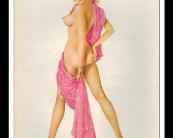 """Vargas Playboy Pinup Girl Vintage July 1965 """"Throw in the towel"""" Sexy Blonde Nude Mature Pink Towel Wall Art Deco Print"""