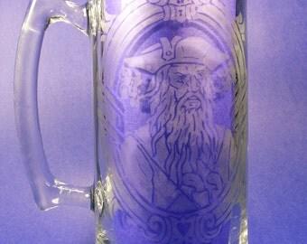 Captain Edward Blackbeard Teach Pirate Etched Stein Rum Mug