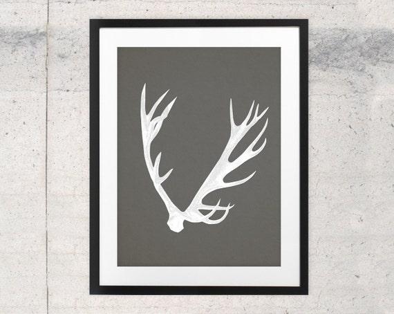 Deer Antler Print Antler Design Modern Art Print By