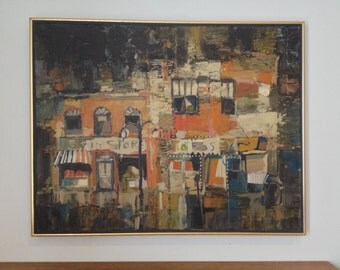 Mid Century Modern Abstract Oil Painting by Paul Ryan