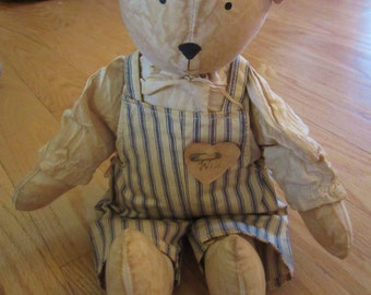 Vintage Tea Stained Muslin Teddy Bear in Shrit and Overalls