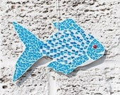 Blue Fish Mosaic // Nautical Home Decor // Beach Decor // Wall Hanging // Beach Wall Art // Ornament // Fish // Decorations // Wall Decor