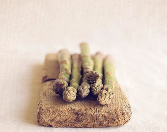 Asparagus, Abstract still life Asparagus on driftwood, Fine art food photography, Kitchen wall art, Home Decor