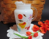 Bartlett Collins Gay Fad Snow Orchard White Glass Pitcher