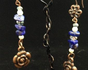 Lapis flower dangle earrings, Lapis stone jewelry, lapis stone earrings, Natural stone earrings sku #0039