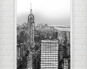 New York illustrated print