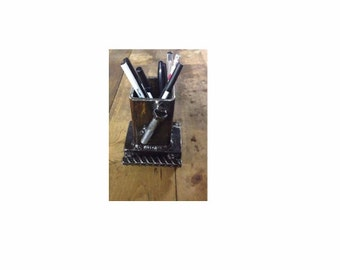 Rustic Industrial Steampunk Rebar Bolt Pen Display Knick Knack Holder Desk Organizer Screwdriver Tool Upcycled