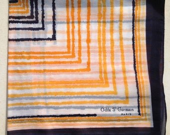 Vintage Scarf by Odile St Germain Paris - Printed Polyester Chiffon - Navy, White and Orange Retro Stripes - Unused and Perfect from 1970s