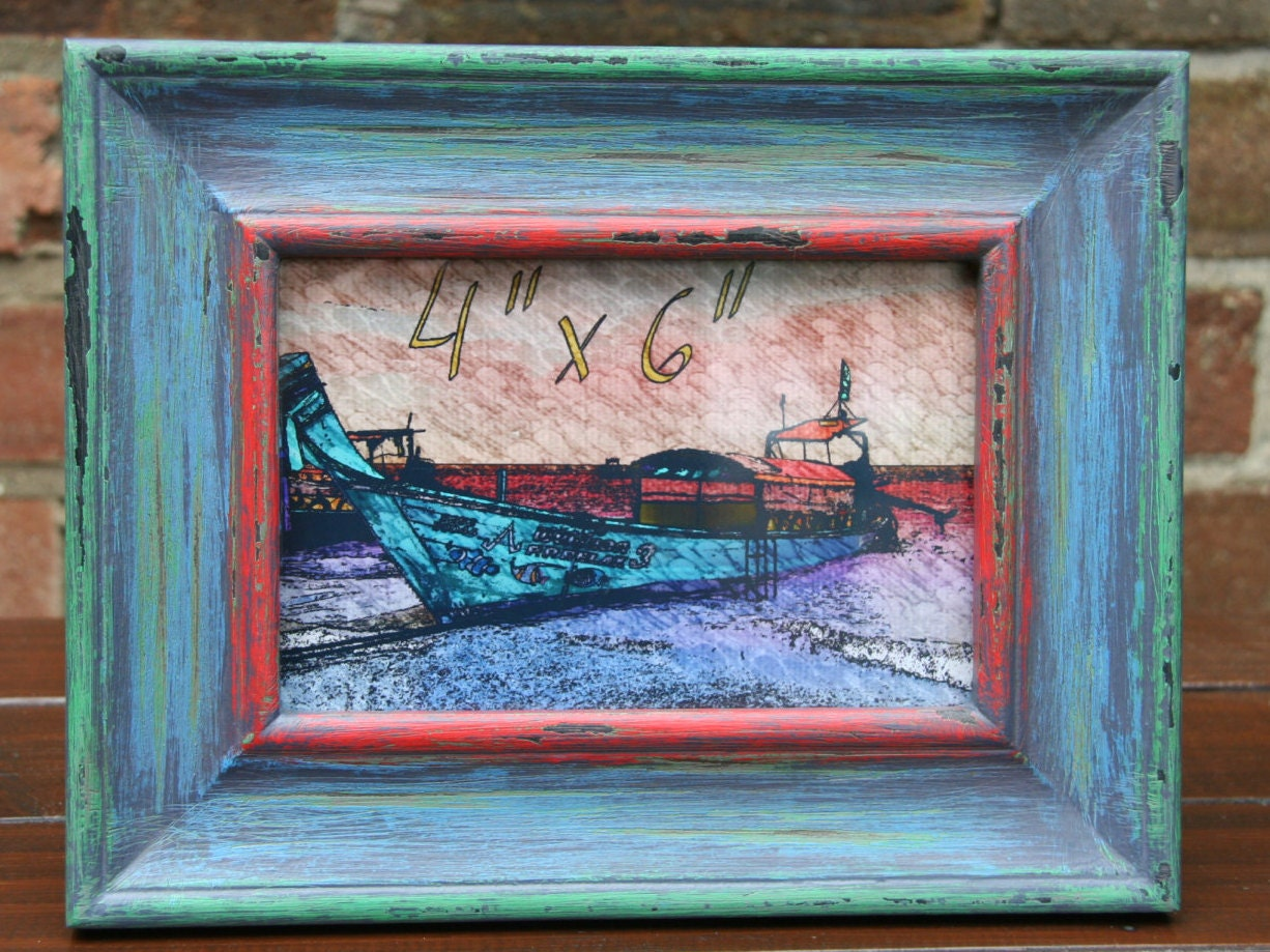 Distressed Rustic Unique Multi Colored Wooden Photo Frame
