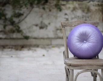 """Lilac velvet round pillow 16"""""""
