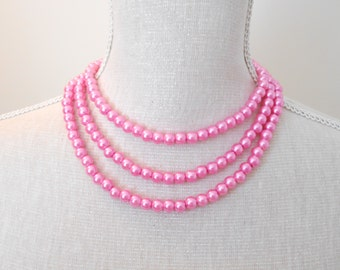 Pink Pearl Necklace on Silver Chain - Wedding, Bridal, Birthday Gift, mother jewelry, choose your color, matching bracelet or earrings