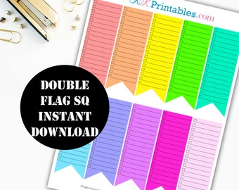 Double Checklist Flag Printable Planner Stickers // Erin Condren Printable / Plum Paper / Planner Insert Instant Digital Download 00017