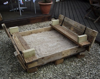 Handmade Children's Sandpit with bench seat
