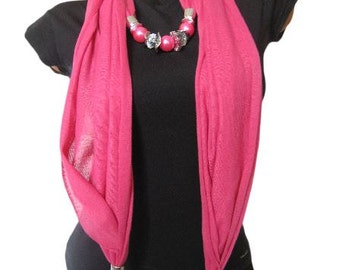 Pink pendant scarf, Scarf necklace, Scarf jewelry, Pendant scarf, Fabric scarf jewelry, Women jewelry, Fashion scarf, Fashion accessories
