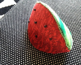 Quilted Watermelon Pouch / Coin Purse