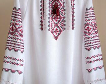Vyshyvanka peasant blouse / Ukrainian blouse / Ukrainian clothing / Handmade embroidery / Vishivanka shirt / Vyshivanka / Gift for her