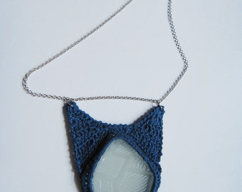 Crochet necklace with sea glass