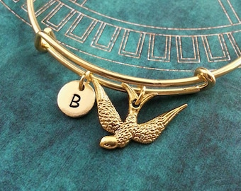 Sparrow Bangle Bracelet Gold Sparrow Bracelet Sparrow Charm Jewelry Stackable Bangle Adjustable Bangle Expandable Bangle Personalized Bangle