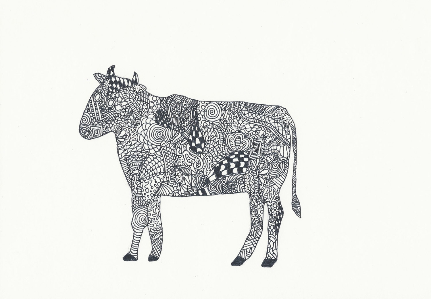 zentangle cow colouring page