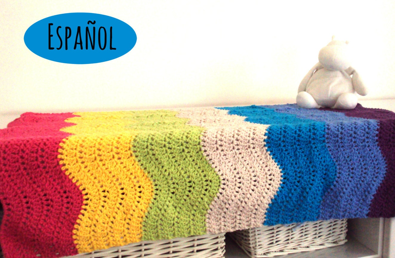 Patr n crochet sencillo mantilla de beb olas patr n manta - Mantas de bebe hechas a ganchillo ...
