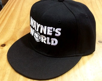New WAYNES WORLD Embroidery Black FLAT Peak Snapback Cap Party Movie Costume