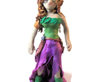 Female Elf Art Doll - Girl Elf Sculpture -Polymer Clay Art Doll - Red haired Elf