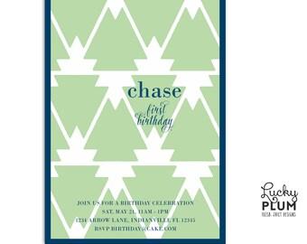Boho Arrow Birthday Invitation / Feather Indian Aztec Tribal Invite / First Birthday Invite / Modern Black Green Invite / *Digital file*