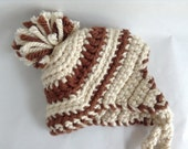 Childs Winter Hat Crochet Chunky Brown and Cream - Toddler to young child
