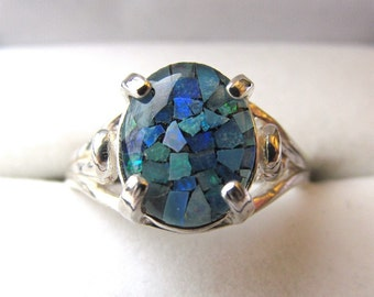 10x8mm .75 Carat Oval Mosaic Opal Triplet Sterling Silver Swirl Design Ring Size Six and One Half