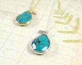 Collier turquoise Boho Gem / Turquoise Collier de pierre gemme, bijoux Bohème
