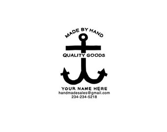 "Anchor Shop Stamp - Custom Business Rubber Stamp - Custom Hand Lettered Stamp - ""Made by Hand"" Stamp"