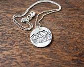 mountain top necklace - mountain necklace - sterling silver mountain necklace - silver mountain charm - mountain jewelry - mountain pendant