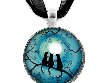 Three Black Cats Necklace Zen Cat Pendant Silhouette Teal Blue Moon Moonlight Tree Branches Handmade Jewelry Boho Wiccan Pagan Halloween Art