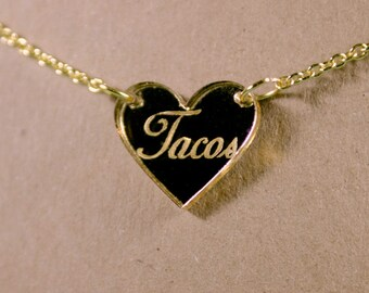 Tacos Heart Gold Mirror Acrylic Necklace